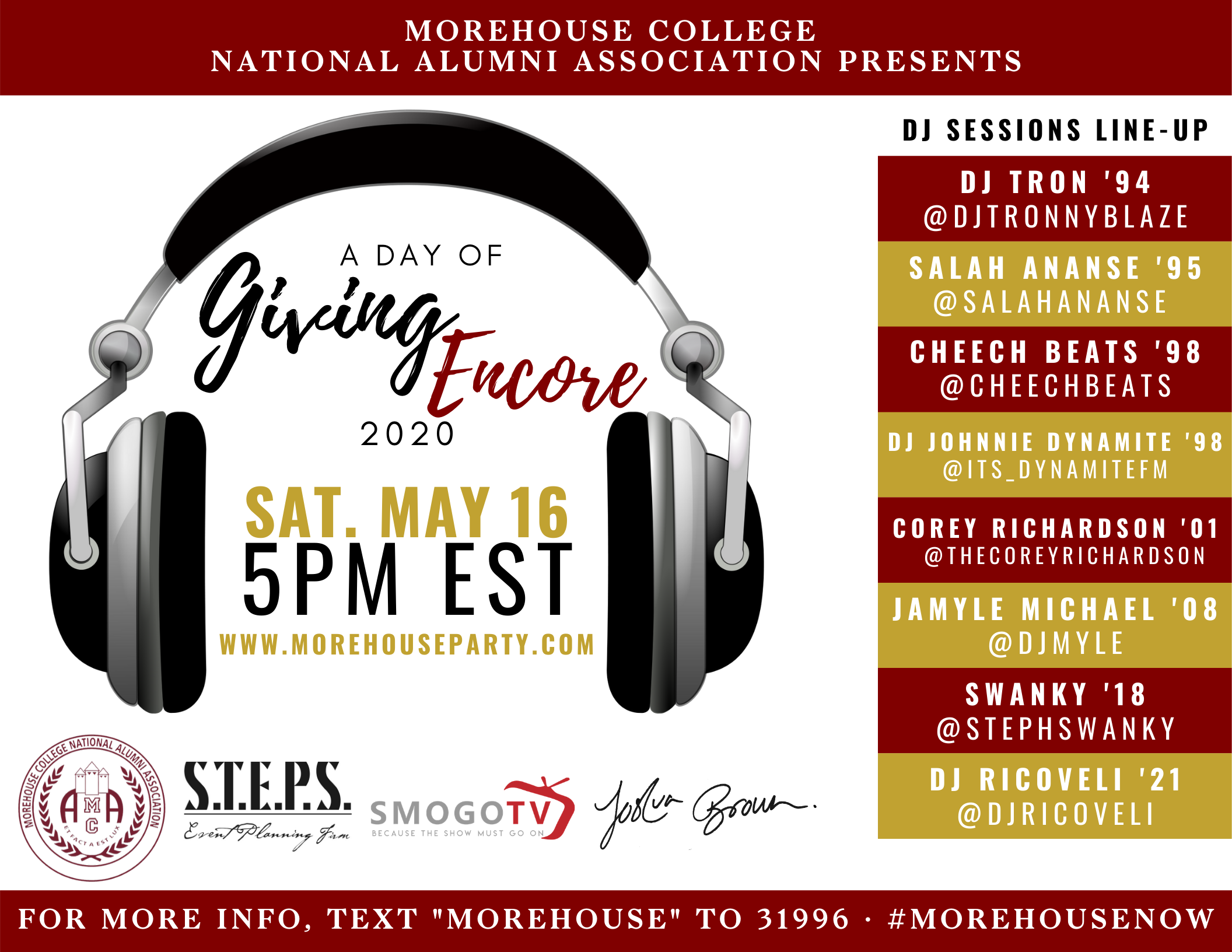 Join us Saturday May 16th at 5pm EST for the MoreHOUSEParty!